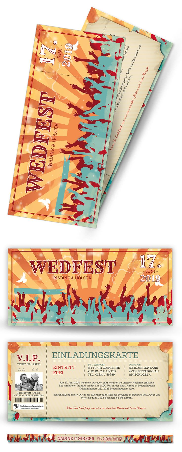 Festivalticket als hochzeitseinladung mit passendem festival armband zum selbst gestalten tickets zum abtrennen 21 x 10cm
