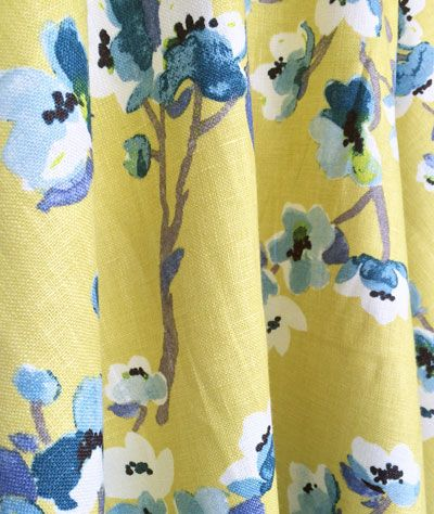 Sakura. Cherry blossom fabric in Green Tea. 100% Linen - available at www.tonicliving.com