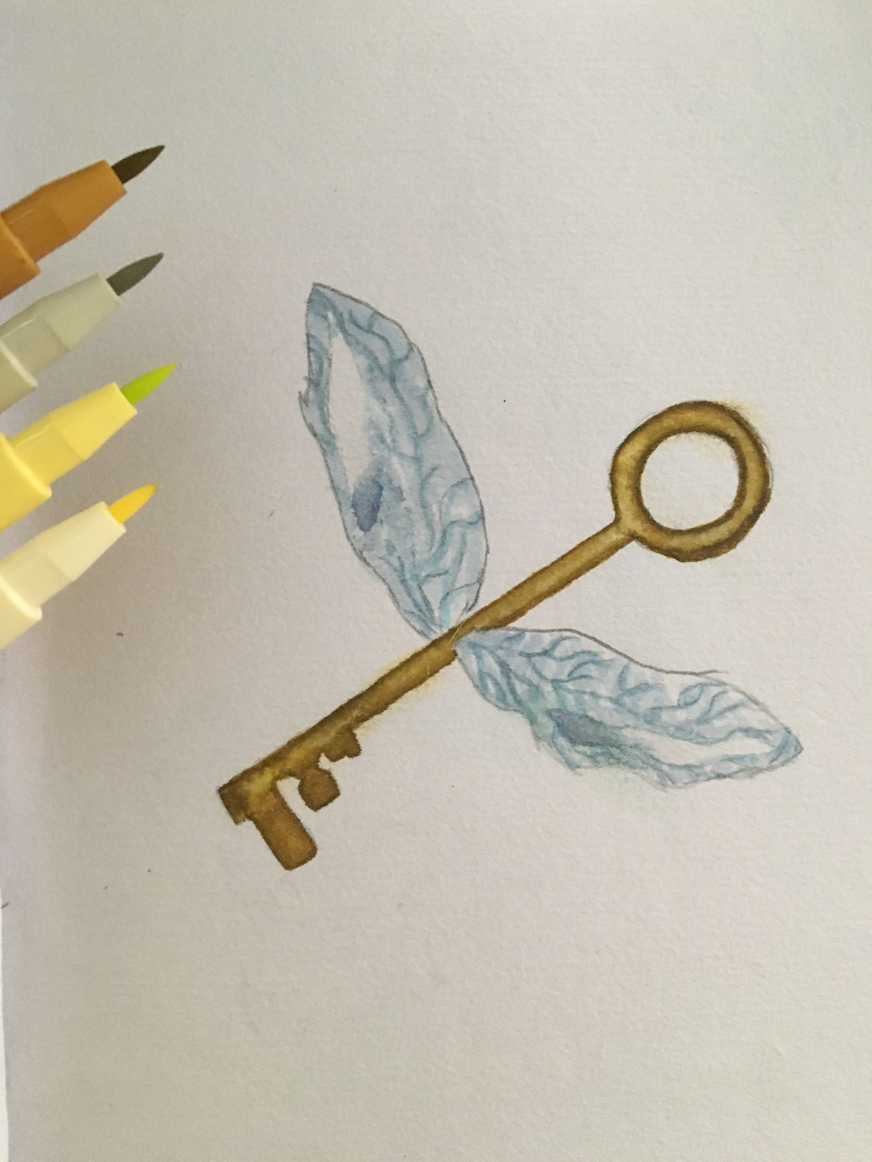 Harry potter flying key drawing