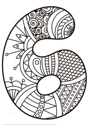 Number 6 Zentangle Coloring Page Free Printable Coloring Pages Coloring Pages Mandala Coloring Pages Free Printable Coloring Pages