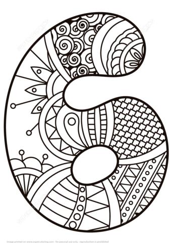 Número 6 Zentangle Dibujo para colorear. Categorías: Números ...