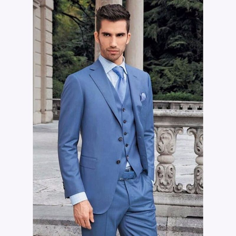 Blue Mens Dinner Party Prom Suits Groom Tuxedos men suit 2017 ...