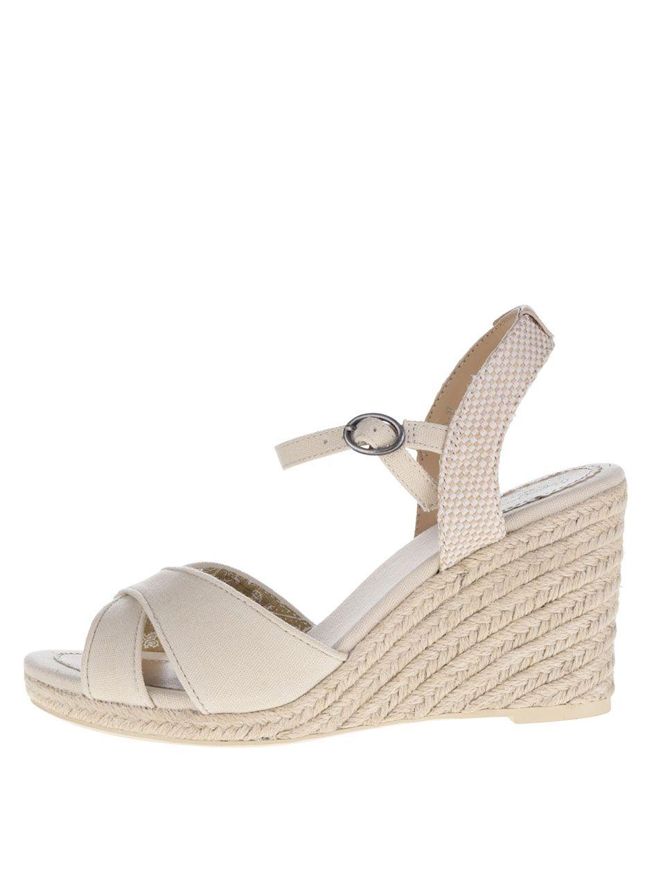 Krémové sandálky na klínku Pepe Jeans Shark Basic  801d64f179