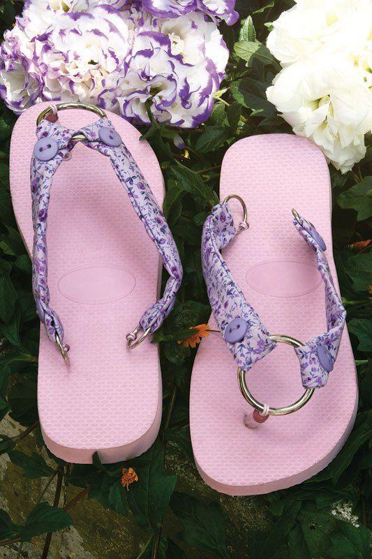 d5edb53ab22f40 diy flip flop ideas fabric scraps pink purple floral pattern ...
