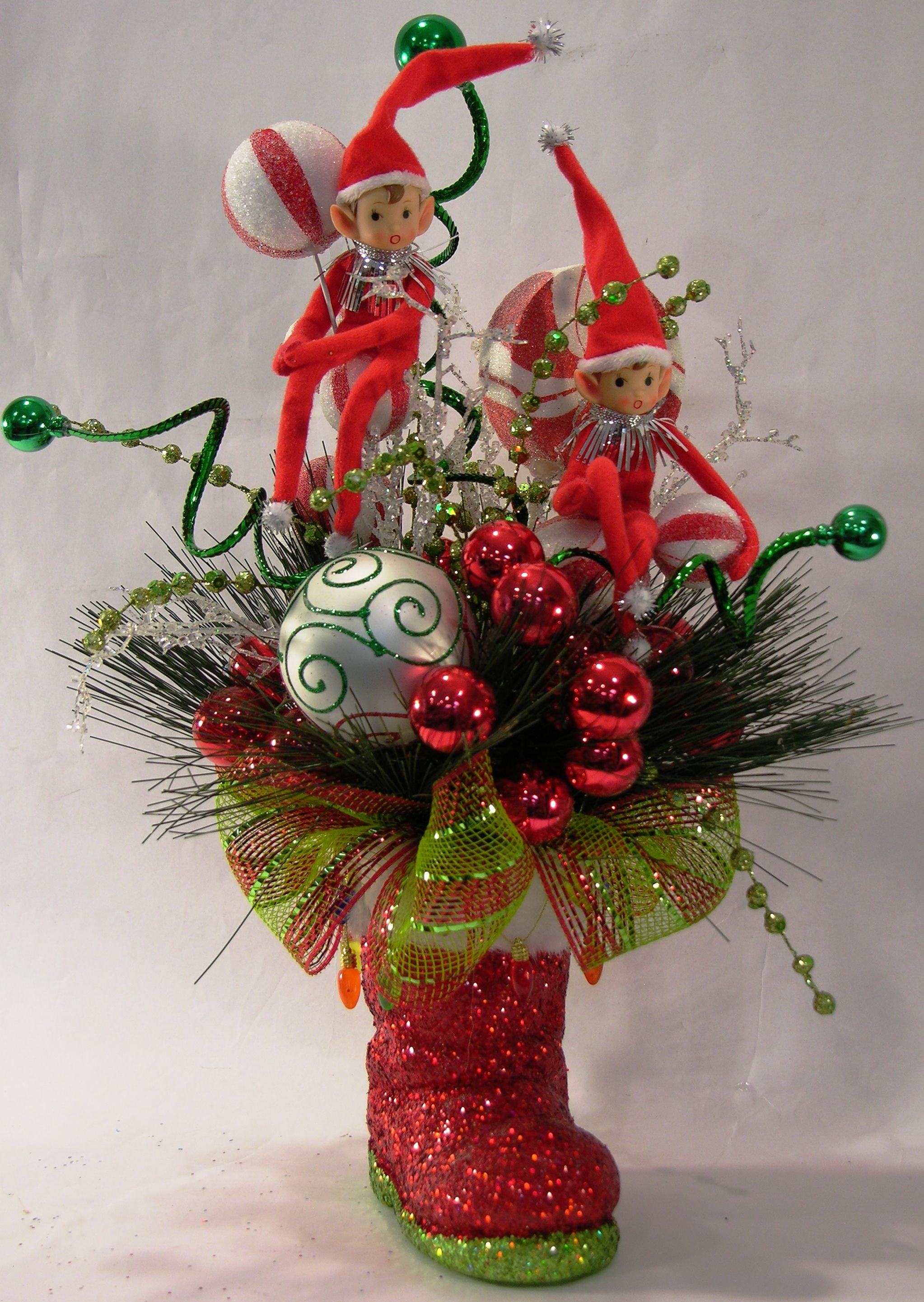 Red elf santa boot arrangement christmas pinterest