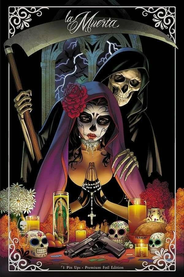 Pin De Jesus Rosas En Tatuaje Santa Muerte Tod Sensenmann Y