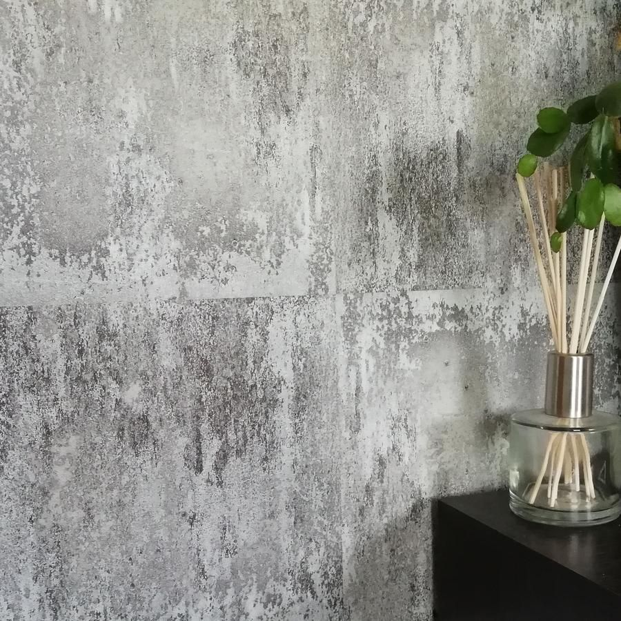 Textured Rusted Concrete Tile Wall Effect Wallpaper Rusted Orange Gold Charcoal In 2020 Concrete Wallpaper Concrete Tiles Wall Tiles