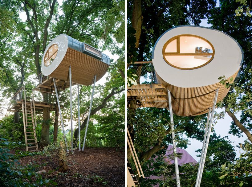 Elegant Backyard Escape: Elliptical Pod Tree House Awesome Design