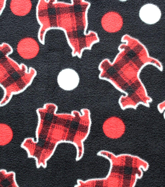 Antipill fleece fabric plaid scottie dogsantipill fleece fabric