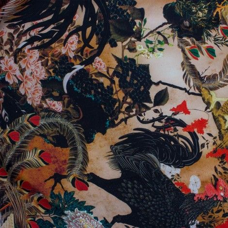 Dark Nature Printed Silk Satin