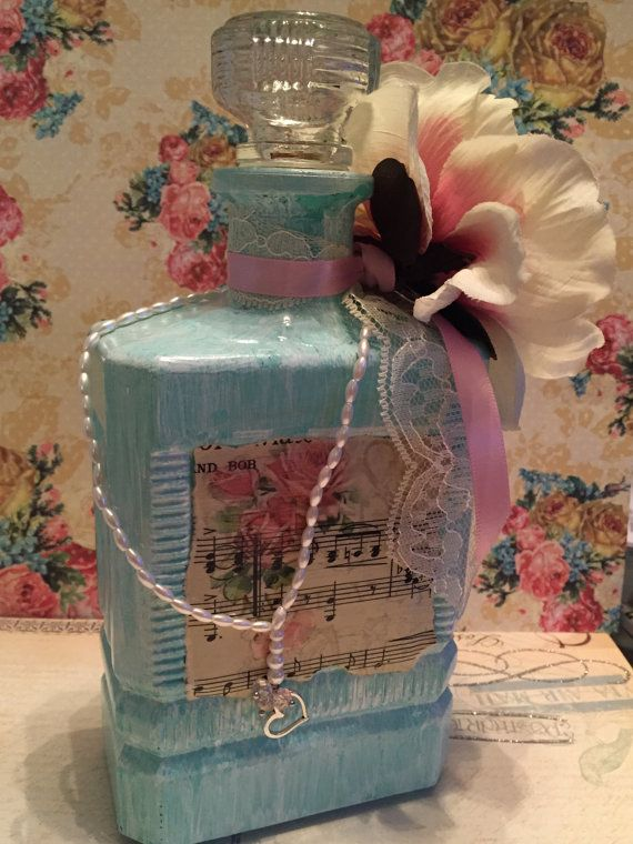 Vintage Shabby Chic Glass Bottle by TiffinyBrooks on Etsy $35.00