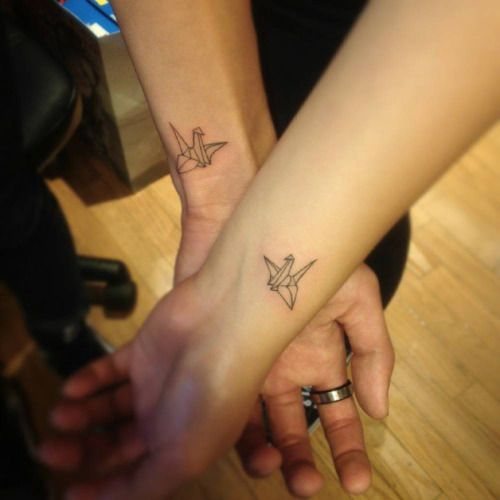 2b8241afed0b5 origami couple tattoo - Google Search | crows for couples | Origami ...