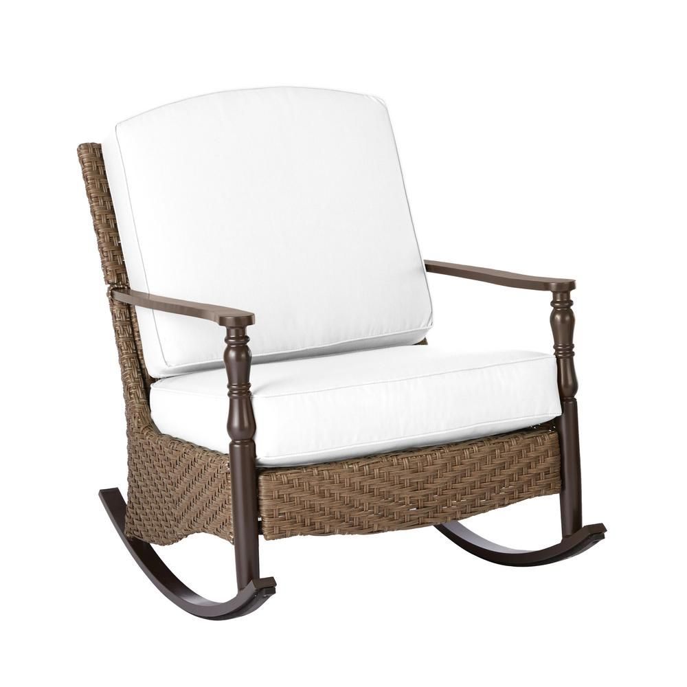 Home Decorators Collection Bolingbrook Wicker Outdoor Rocking Chair With Cushion Inserts Slipcovers Sold Separately