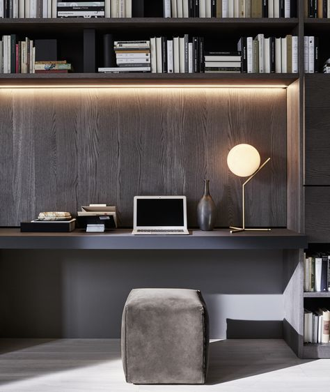 15 Awesome Home Office Designs To Boost Your Productivity: 505 Bookshelves And Multimedia - Molteni