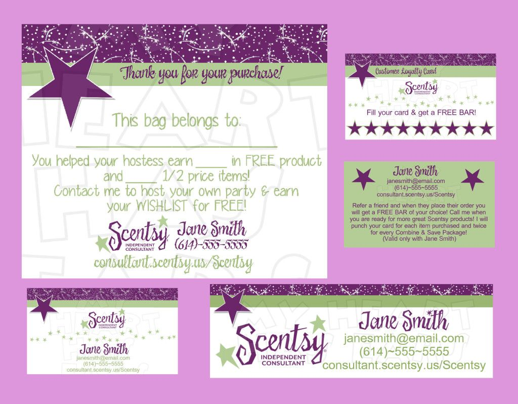 Scentsy Business Bundle Custom Printable Digital Business Cards Bag Tag Customer Loyalty Cards