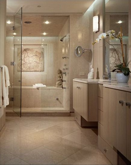 bathshower combo stand up shower with a soaking tub behind it all