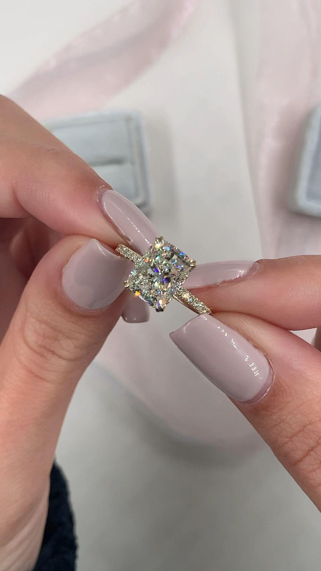 Photo of Diamond Engagement Ring 4.10 Carat Cushion Diamond Hidden | Etsy