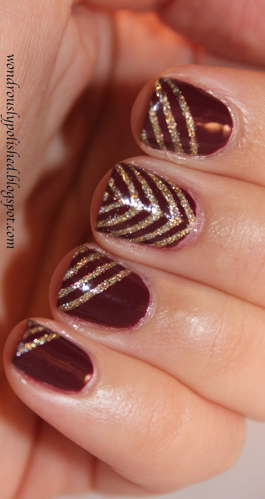 New Nail Polish Trends: New Year's Nails 2016. Merlot Gel Manicure. Gold Sparkly