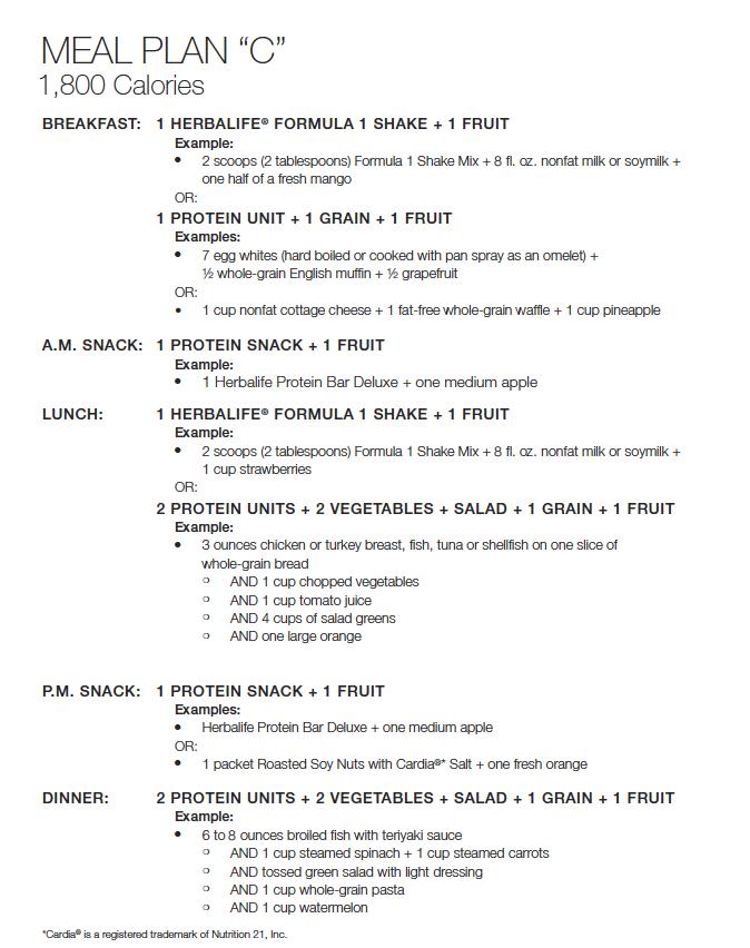 Herbalife Meal Plan C Herbalife Herbalife Diet