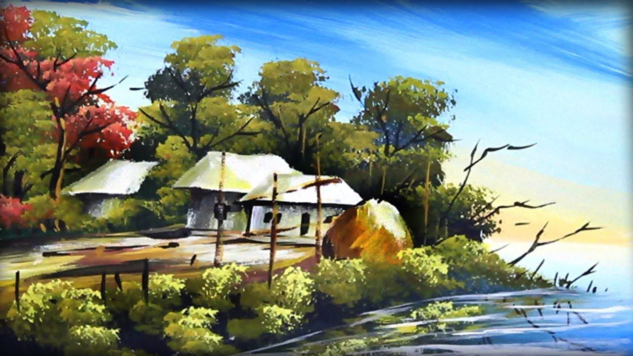 How To Improve At Village River Scenery Drawing In Acrylic Color Acrylic Colors Acrylic Drawings