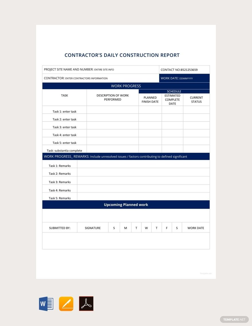 Free Daily Construction Report Template in 2020 Report