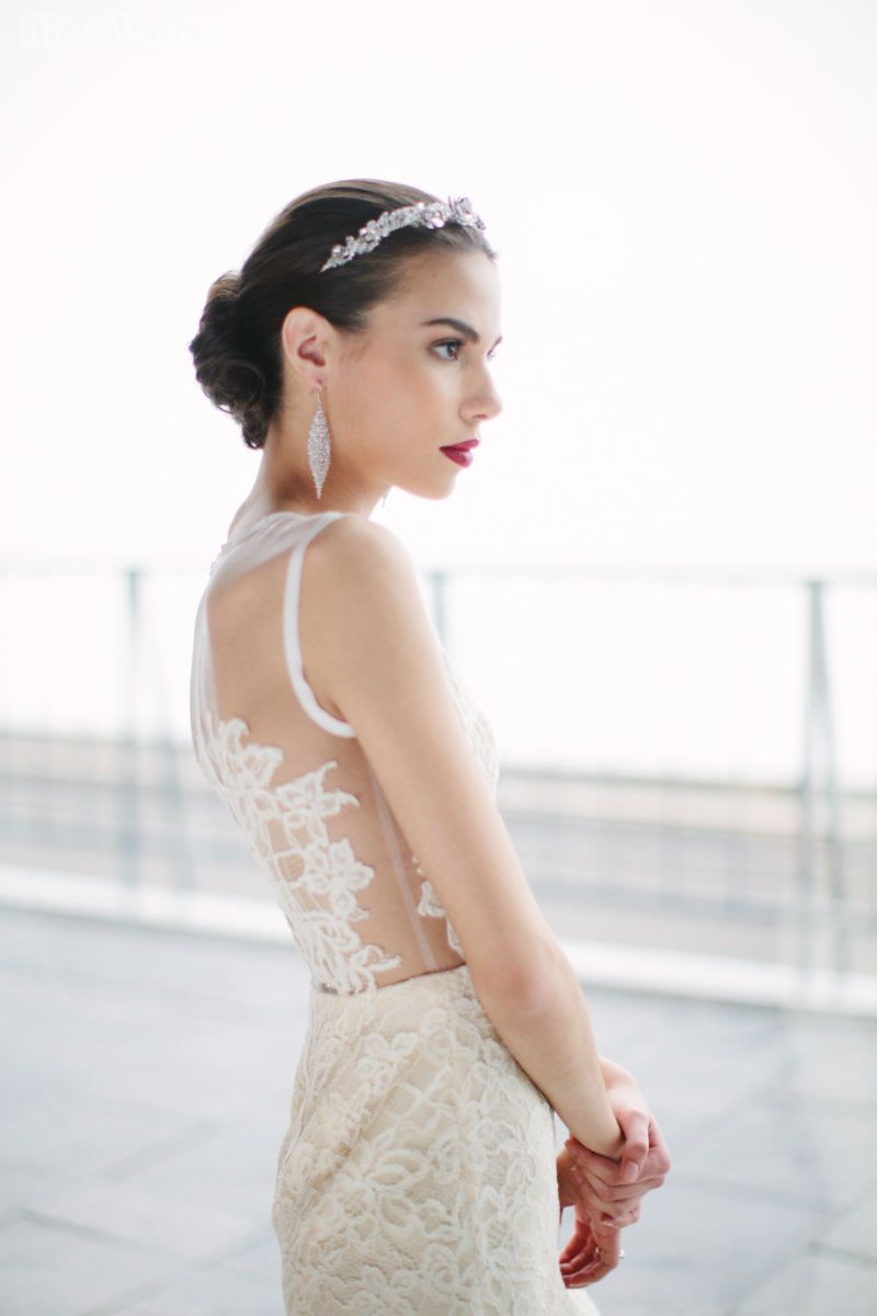 Modern bridal headpiece! Love the wedding dress with an illusion back as well! MIDNIGHT BLOOM VALENTINO-INSPIRED WEDDING www.elegantwedding.ca