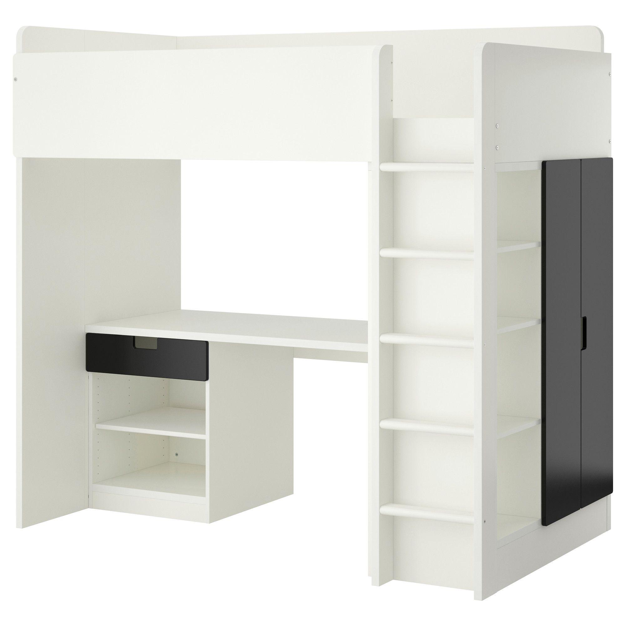 Stuva Loft Bed With 1 Drawer 2 Doors White Black Ikea