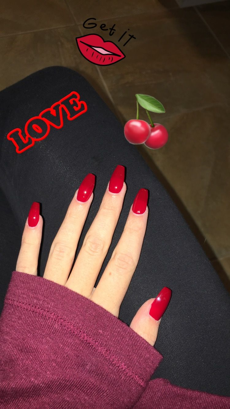 Cherry Red Coffin Nails Ig Victoria Metts Jelly Nails Dream Nails Best Acrylic Nails