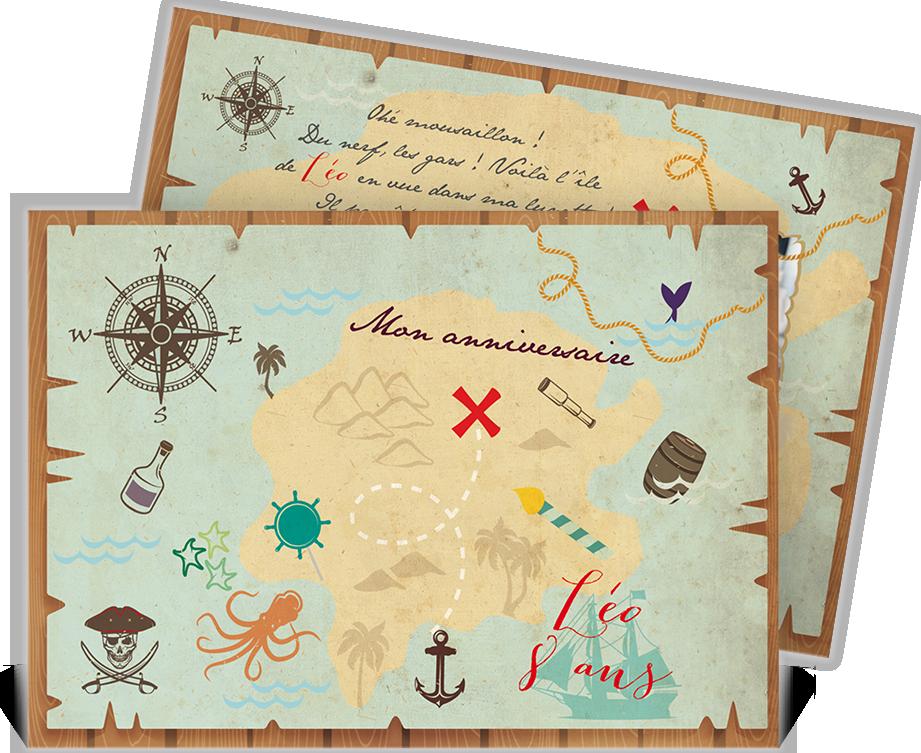 Invitation anniversaire pour votre petit pirate qui pourra convier ses amis une grande chasse - Invitation anniversaire garcon pirate ...