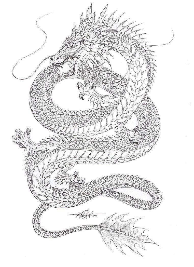 Dragon Outline Drawing : dragon, outline, drawing, Water, Dragon, Outline, Artstain, DeviantART, Asian, Tattoo,, Tattoo, Designs
