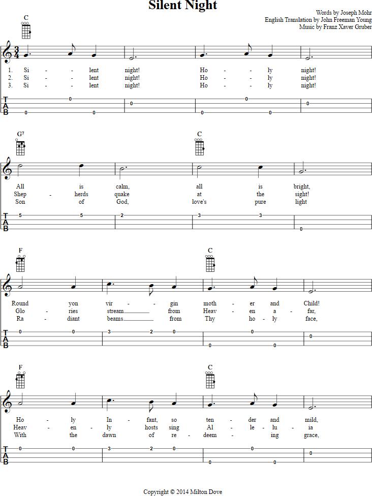 Silent Night Ukulele Tab Full Music Available At Httpchordzone