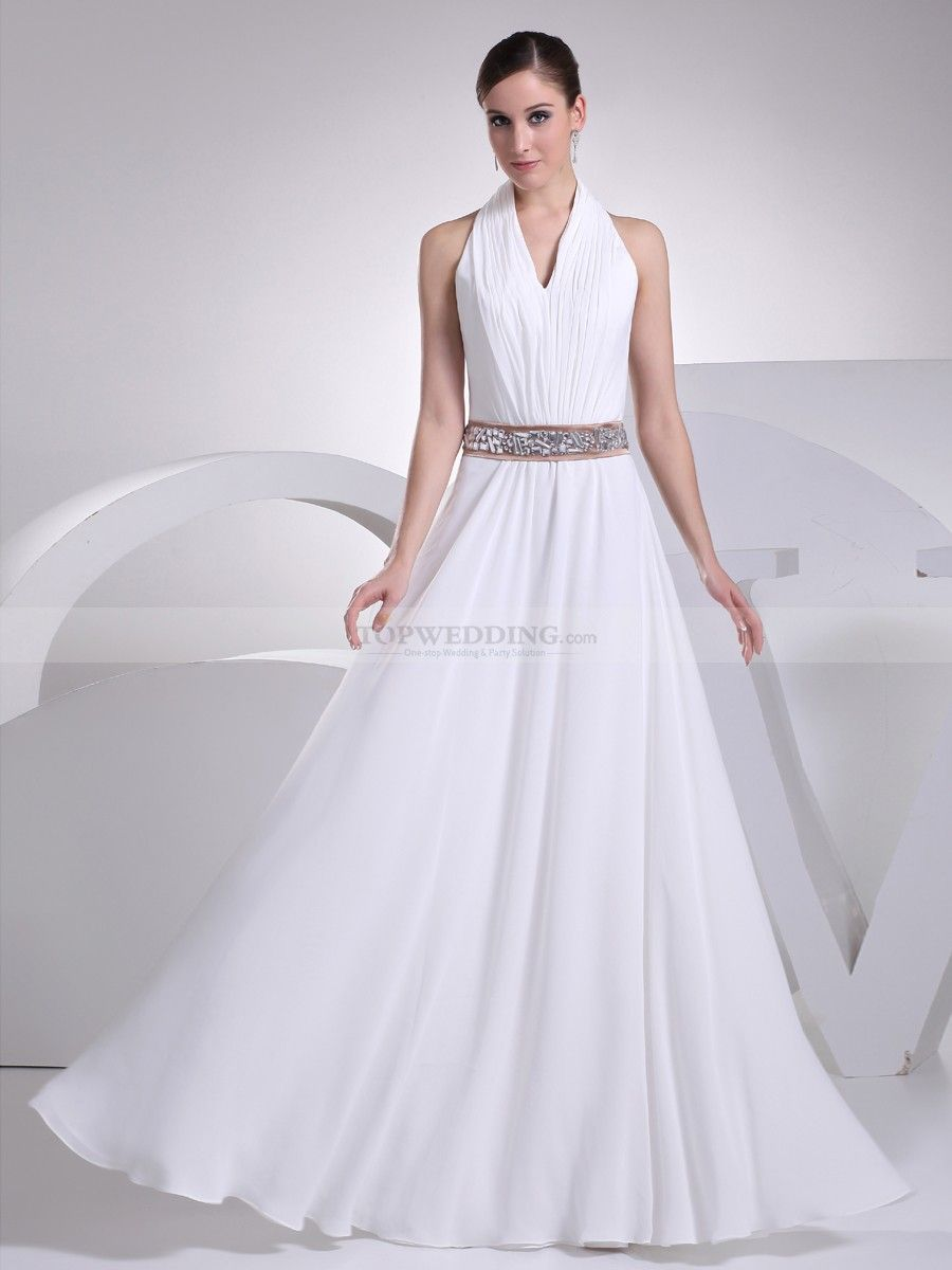Chiffon wedding dresses  Pleated Halter V Neck Chiffon Wedding Dress with Rhinestone Waist