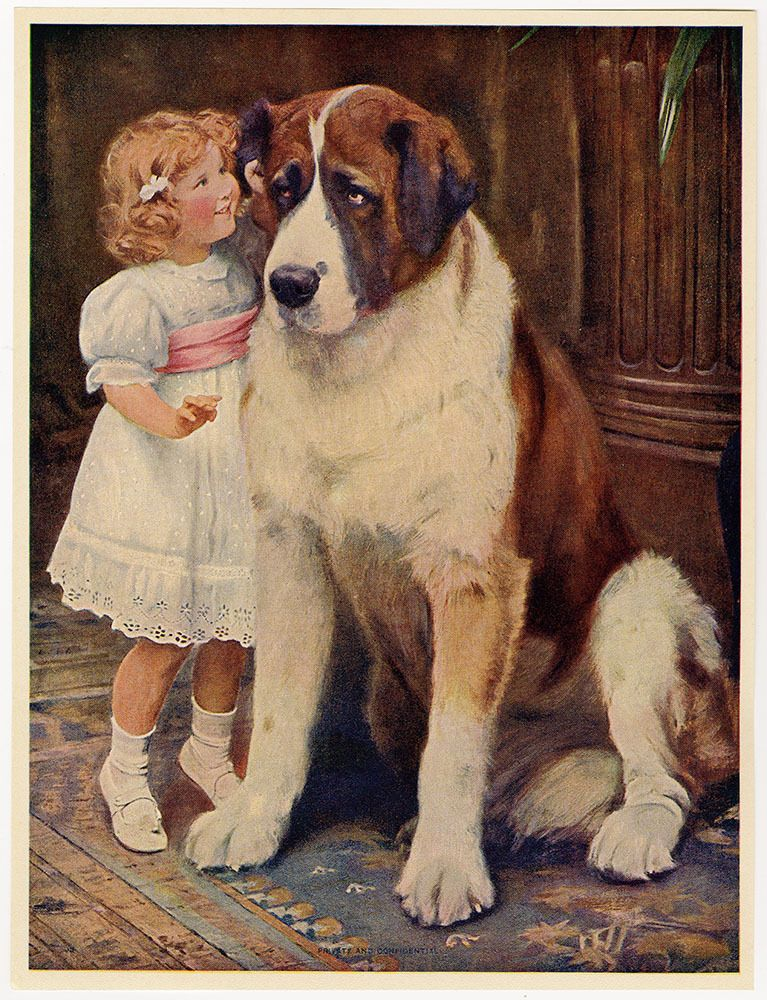 SAINT BERNARD LITTLE GIRL AND PONY LOVELY OLD VINTAGE 1934 DOG PRINT