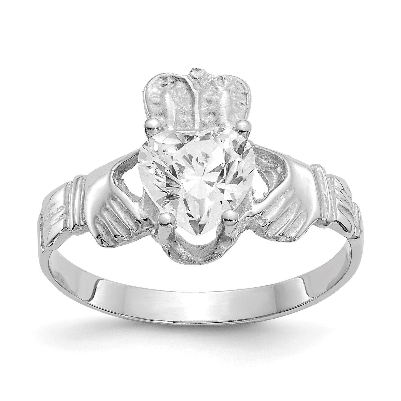 14k White Gold April White Heart Claddagh Ring