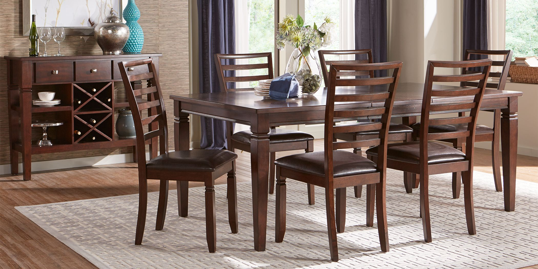 Riverdale Cherry 5 Pc Rectangle Dining Room With Ladder Back Chairs Dining Room Sets Rooms To Go Furniture Classic Dining Room