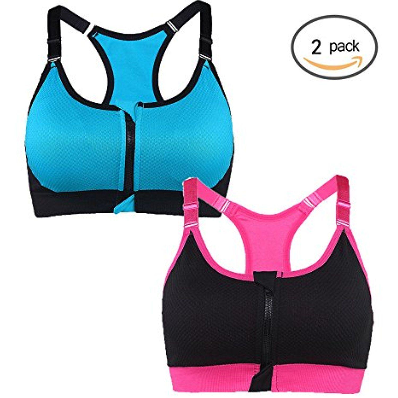 Women's Zip Front Sports Bra Adjustable Straps High