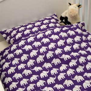 Junior sengetøj elefanter - Lilla  Elin