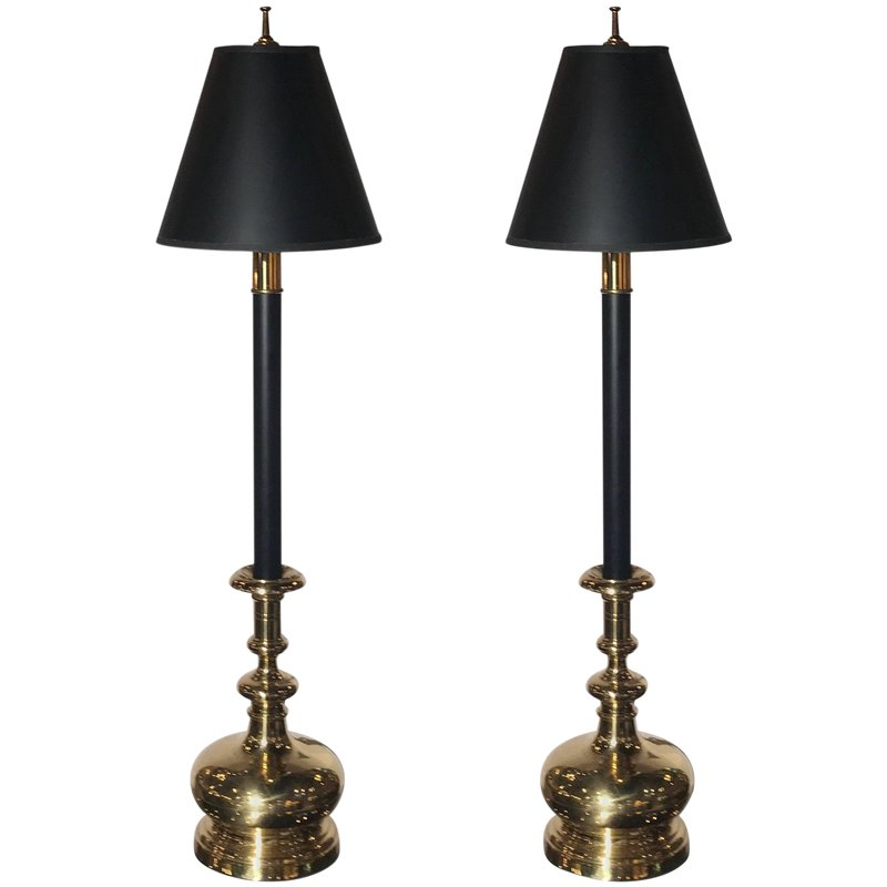 83faafe7c1ccb 20th Century Traditional Chapman Manufacturing Company Tall Buffet  Candlestick Lamps - a Pair