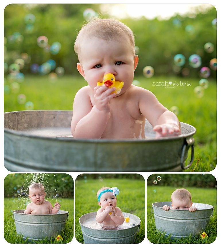 bubble bath photography session 6 month old baby girl Friendswood ...
