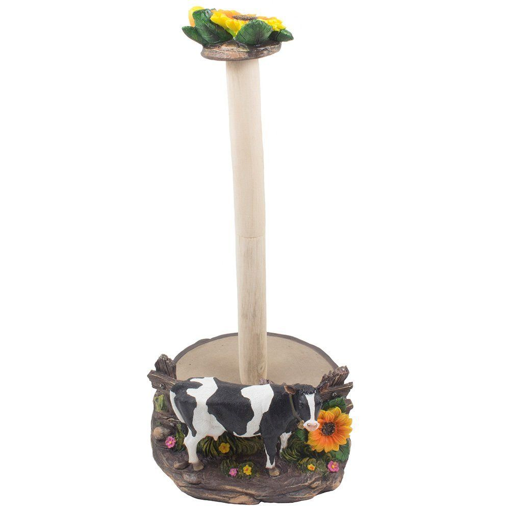 Decorative holstein cow paper towel holder display stand
