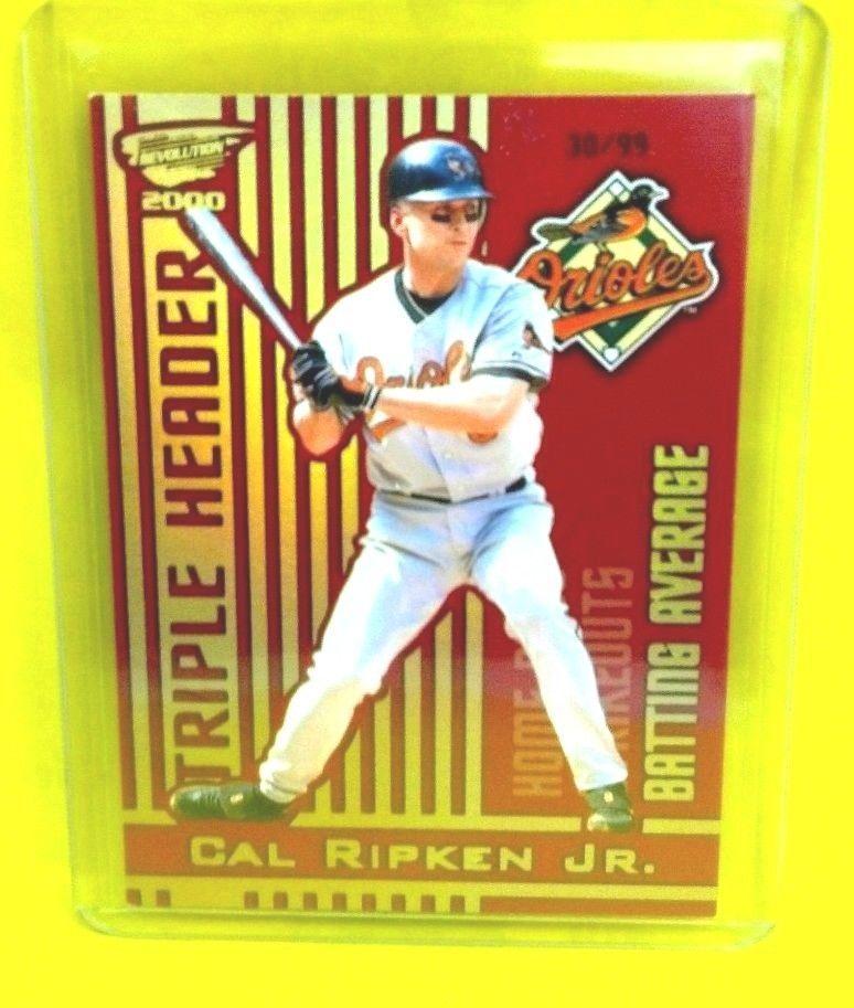 2000 Revolution Triple Header Holographic Gold 2 Cal Ripken 30 99 Holographic Gold Holographic Sports Cards