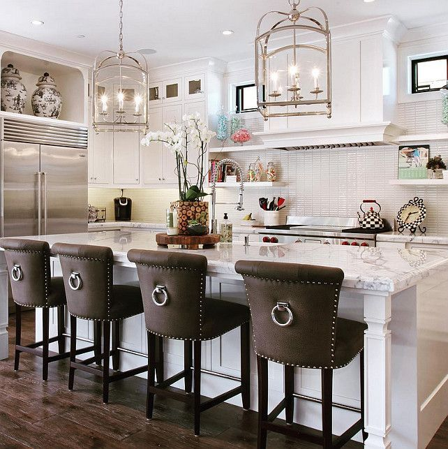 Bar Stools For White Kitchen: Classic Barstools Enhance This Traditional Kitchen