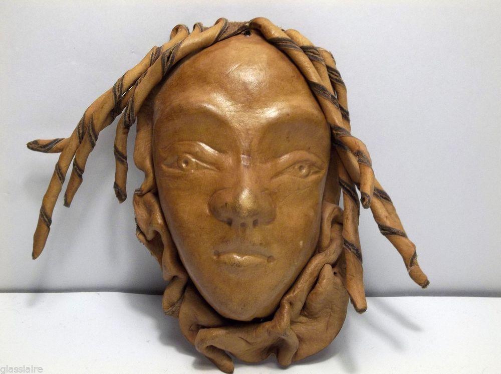 "Vintage Folk Art Leather MEDUSA Mask 5.75"""