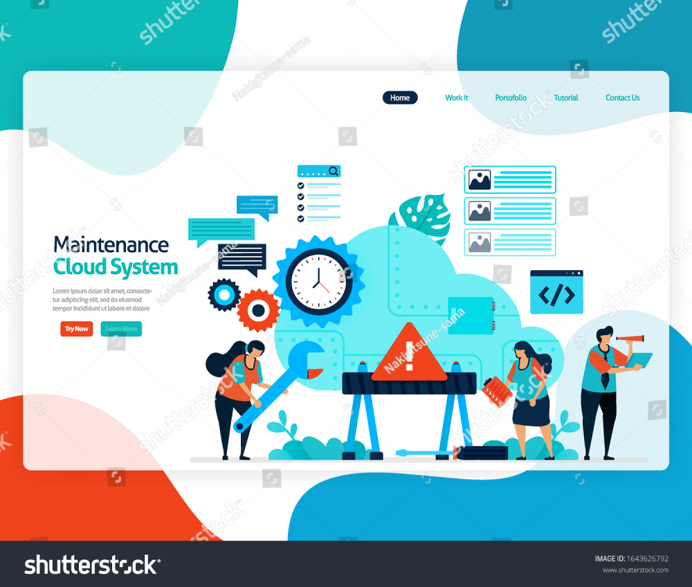 Homepage Landing Page Vector Flat Illustration Of Maintenance Cloud System Repair And Maintenance Of Sto Flat Illustration Landing Page Repair And Maintenance