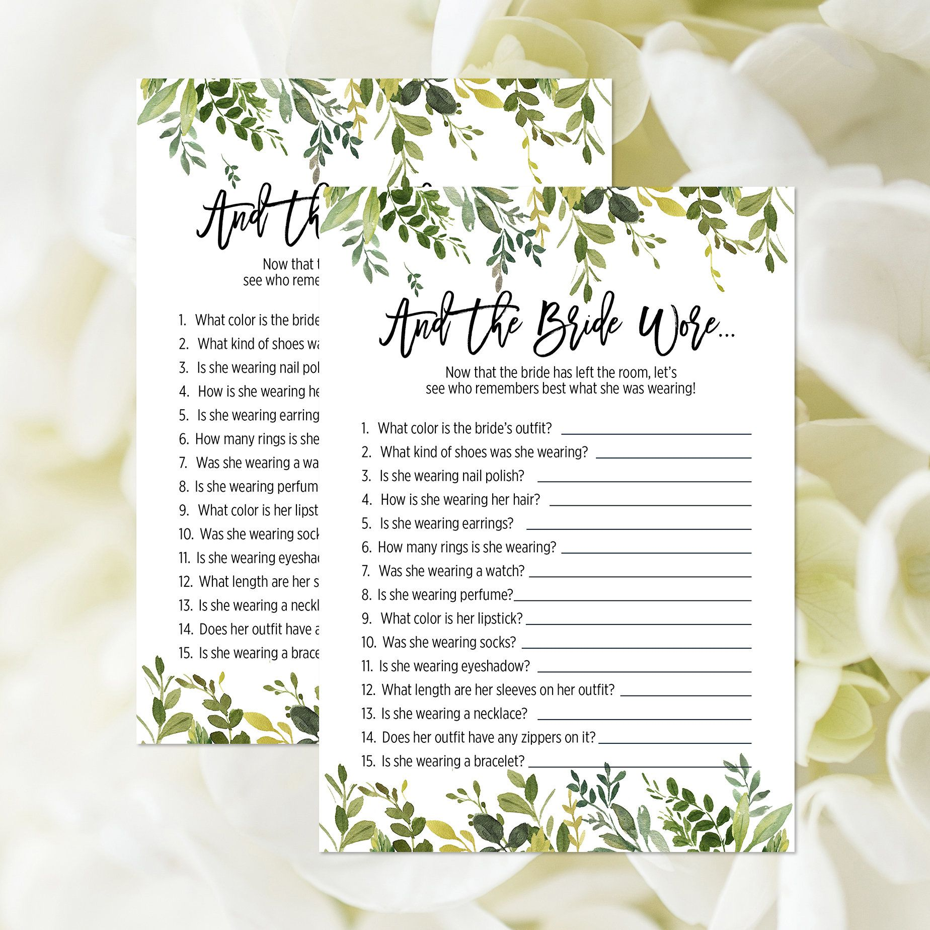 And The Bride Wore Game, Printable, Greenery Bridal Shower