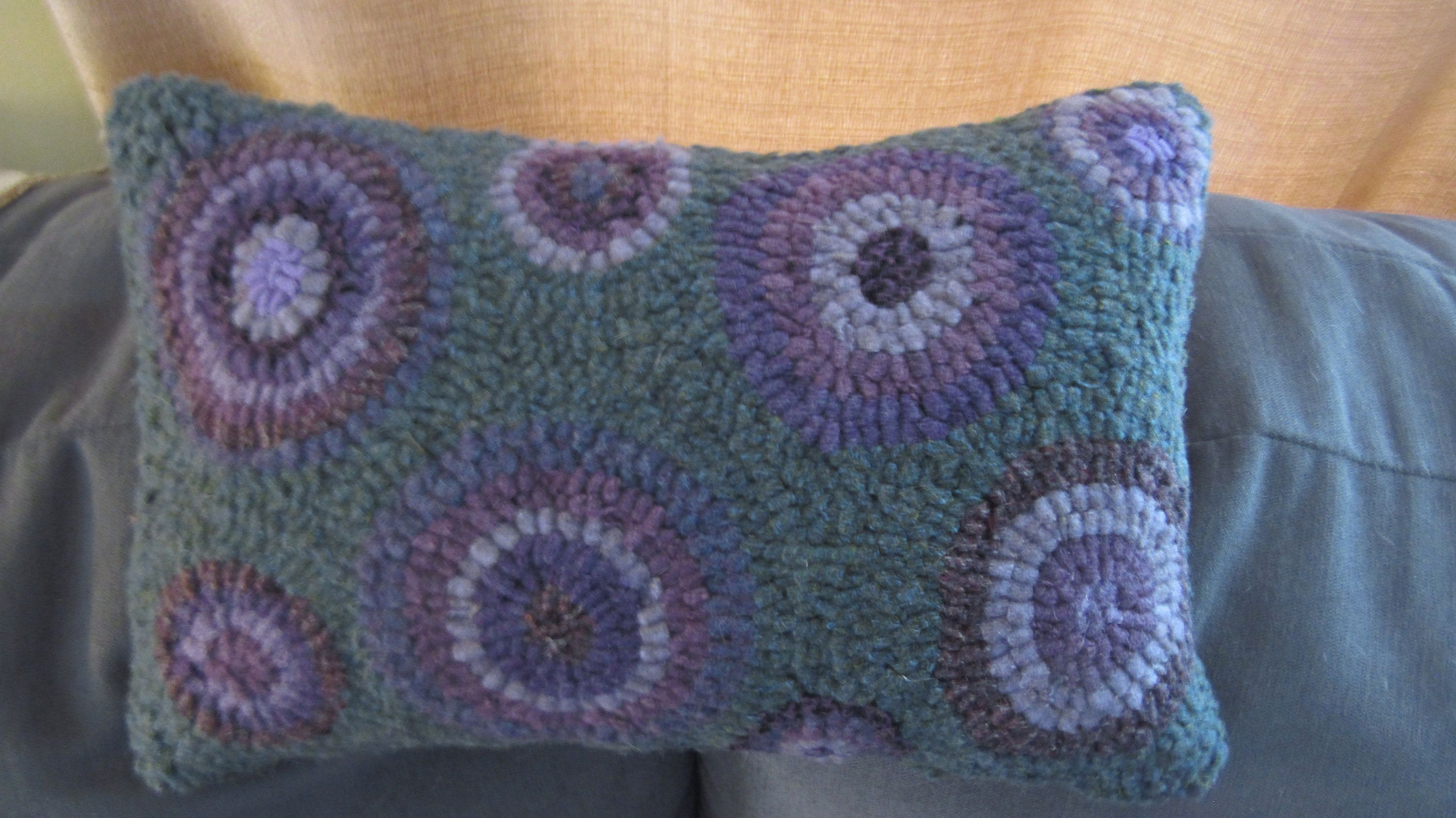 Primitive hooked rug circles pillowteal purples and lavender folk