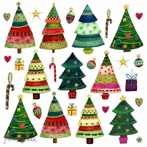 Finola Stack Artist Illustrator Cards Christmas Tree Painting Christmas Tree Drawing Christmas Illustration