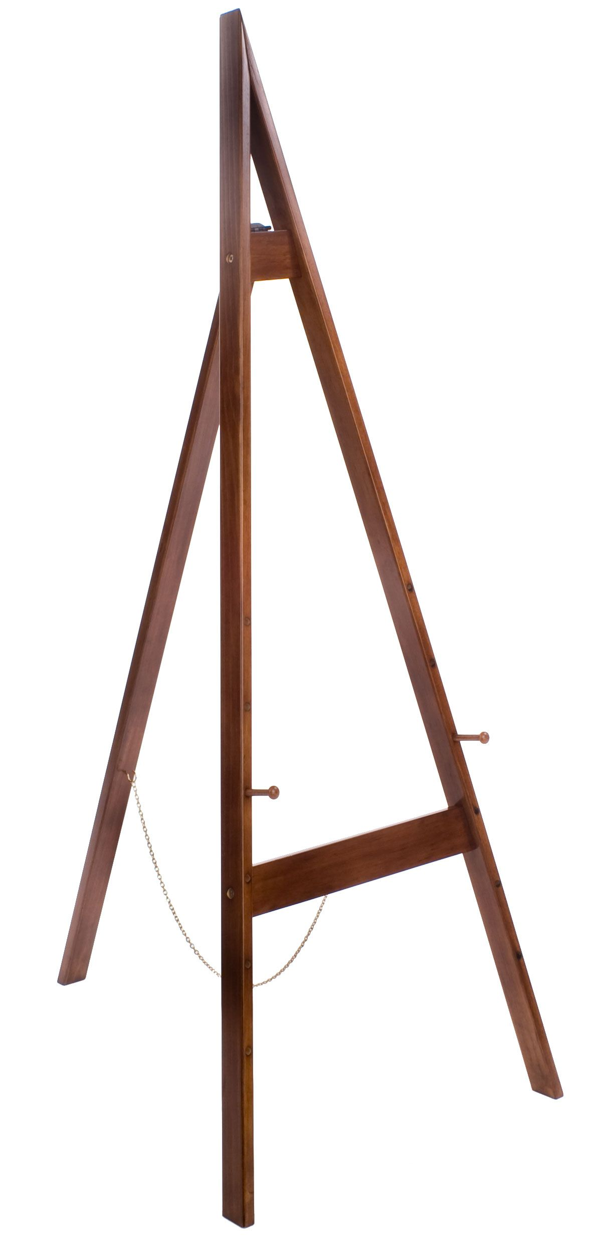 Wood Easel For Floor With Height Adjustable Display Pegs Honey