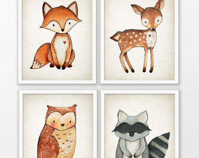 Woodland Aquarell Tiere Kinderzimmer Prints-Set 4 - Fox Hirsch Eule ...