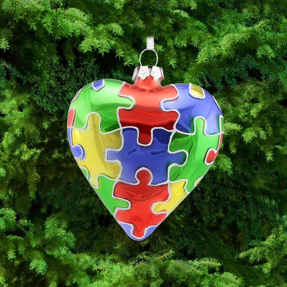 Puzzle Piece Glass Heart Ornament at The Autism Site | Places to ...